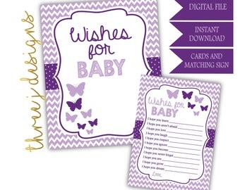 Butterfly Baby Shower Wishes for Baby Cards and Sign - INSTANT DOWNLOAD - Plum and Lavender - Digital File - J004