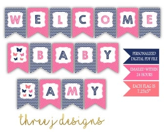 Butterfly Baby Shower Personalized Welcome Baby Banner - Navy Blue, Pink and Coral - Digital File - J003