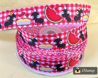 "7/8"" picnic ant watermelon pie red gingham tablecloth glam camper US Designer USDR grosgrain ribbon yard hair bow supply supplies party"