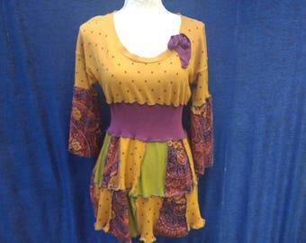Upcycled boho patchwork tunic sweater