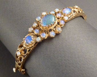 14K and Opal Hinged Bracelet
