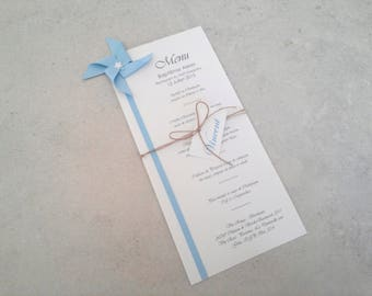 Menu and mark up windmill in blue sky for christening table decoration, anniversary, wedding