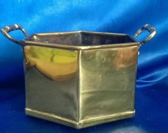 Vintage Brass Pentagon Planter with 2 Handles