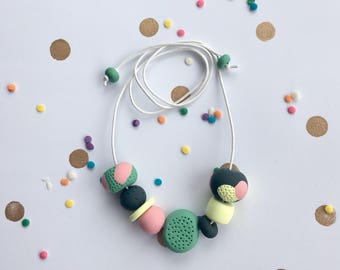 Unique polymer clay beaded necklace
