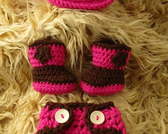 Crochet Baby Cowgirl Outfit Cowgirl Hat And Boots Set Pink Cowboy Baby Girl Outfit Baby Cowgirl Outfit Cowgirl Photo Prop Cowgirl Clothes