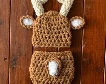Deer Crochet Newborn Baby Set Photography Prop Newborn Deer Outfit Crochet Deer Hat Deer Outfit Baby Animal Outfit Baby Deer Photo Outfit