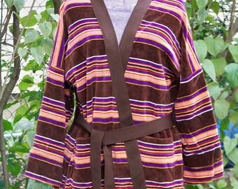Vintage 1970s Brown Velour Kimono-style Cardigan Retro One-of-a-Kind