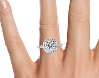D-F/VVS Round Cut Moissanite Diamond Engagement Ring 1.70 CT 14K White Gold Natural