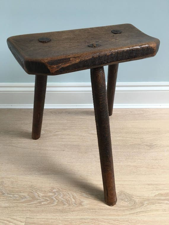 English vernacular Sheffield cutlers three legged stool in Ash and Elm circa early 19th century