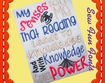 My Senses Say Tell Me That Reading, Reading Saying, Book Saying, Reading Poem ~ Subway Art Machine Embroidery Design INSTANT DOWNLOAD