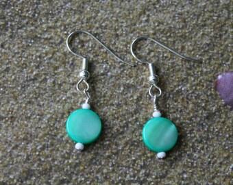Dangle Earrings, Green Round Glass Bead