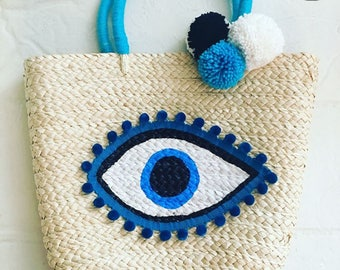 Straw shoulder bag , Personalized Tote bag, Stylish beach bag ,Colorful beach bag,Colroful tote bag, pompom handbag ,beach bag