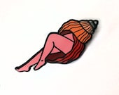 Lapel Pin Seashell with pink legs, Hard enamel, pins, food