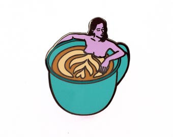 Lapel Pin woman in a cup of coffee, Hard enamel, pins, food