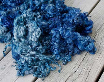 Hand Dyed Gotland Lamb Locks - Shades of Blue High Quality Spinning or Crafting Fiber - 2 ounces