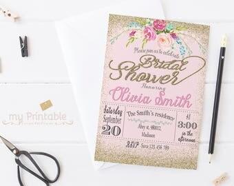 Gold Confetti Bridal Shower Invitation / Digital Printable Invite