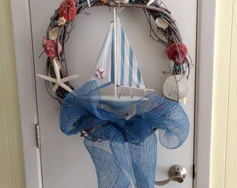 Sailboat wreath, sailboat, nautical wreath, grapevine wreath, coastal wreath, front door wreath, seashell wreath, yachting, yachts, sailing