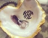 Monogrammed Oyster Shell Jewelry Dish - Circular monogram