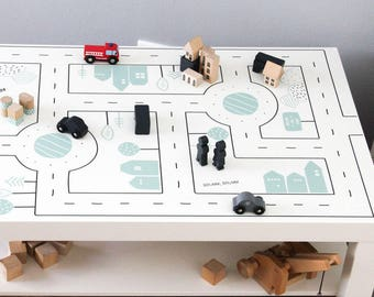 Play table for kids: Furniture sticker SMASTAD for IKEA LACK coffee table small (1M-ST10-04) - Furniture not included