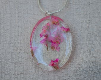 Real Preserved Flower Necklace, Pink Flowers, Resin Jewelry