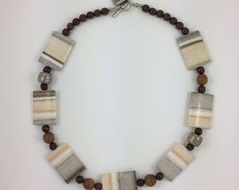 Jasper Bead Necklace by Pottery Lovely