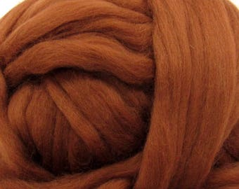 Dyed Corriedale Wool Top Roving Natural Spinning & Felting Fiber / 1oz - Chocolate