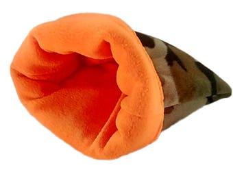 Plush camo small animal snuggle bag, guinea pig, ferret, hedge hog, rat, gerbil, hamster