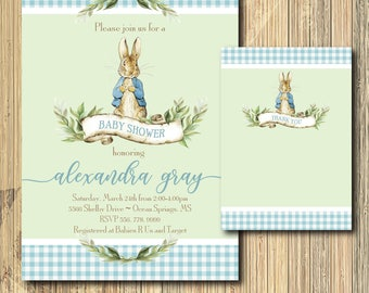 Peter Rabbit Invitation baby shower printable with Note/Digital File/Vintage Peter Rabbit, boy shower, beatrix potter/Wording can be changed