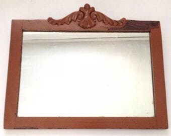 Vintage Shabby Wall Mirror in Wooden Frame
