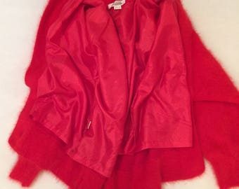 Red Angora Sweater Jacket with jeweled buttons