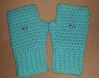 Women Fingerless Gloves, Dragonfly Gloves, Women Fingerless Mittens, Dragonfly Clothes, Dragonfly Gift, Ladies Mittens, Mother's Day Gift