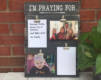 "Handmade Wood Prayer Board / Prayer Wall Art / Prayer Request Sign / Weathered Wood / Black / 16.25""H x 12""W"
