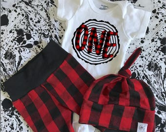 Lumberjack First Birthday, Lumberjack First Birthday Outfit, Lumberjack pants, Buffalo Plaid Outfit, Knot Hat, Baby Knot Hat, Boy Pants,