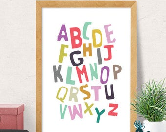 Alphabet print, educational print, nursery wall art, modern nursery decor, cute print, nursery wall decor, kids room decor, cute nursery