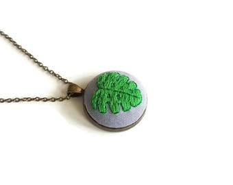 Long necklace with contemporary embroidered bronze pendant gift idea for Women and Girls with green monstera leaf /Pendant 3x3cm/ Chain 35cm