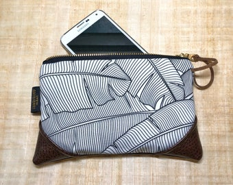 Mini Black and White Banana Leaf Zipper Pouch / Mini Clutch with inside lining and Zipper Pull or Leather Wristlet Strap