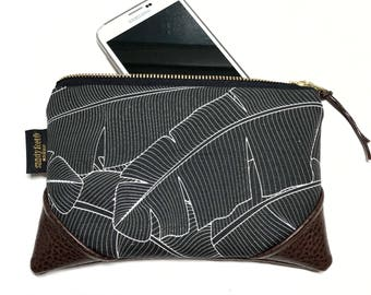 Mini Black Banana Leaf Zipper Pouch / Mini Clutch with inside lining and Zipper Pull or Leather Wristlet Strap