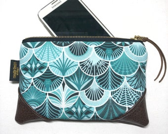 Mini Deco Mermaid x Brown Multi Color Zipper Pouch / Mini Clutch with inside lining and Zipper Pull or Leather Wristlet Strap