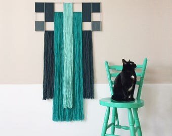 macrame wall hanging with metal grid | geometric tapestry | contemporary fiber art | textile wall decoration | colorful wall art | mint blue