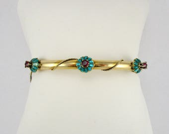 Antique Victorian Garnet and Enamel Bangle Bracelet
