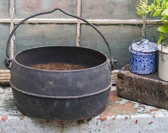 large antique cauldron vintage cast iron pot with handle rustic planter with drainage