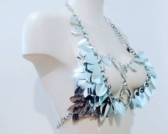 Mirror Scalemail Chainmail Bikini Top Harness Adjustable *ONE OF A KIND* Armour Metal Shiny