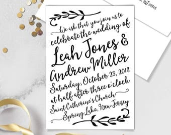 Boho Calligraphy Wedding Invitation / Modern Romantic Invite / Neutral Black & White, Monochromatic ▷Printed Invitations {or} Printable