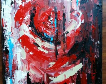 Abstract painting canvas red artwork wallart