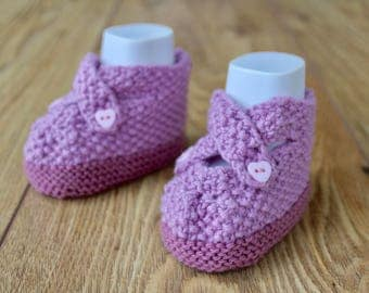 Cotton Baby Booties Pink Baby Shoes, Pink Baby Booties, Pretty Crib Shoes, Baby Shower Gift, Hand Knit Booties, Baby Girl Gift, Baby Sandals