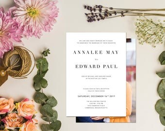 Simple LDS Wedding Invitation | White and Black Wedding Announcement | With Temple Sealing Insert | Digital Printable