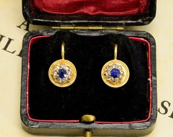 Antique Victorian Etruscan Revival Sapphire & Diamond Cluster Earrings in 15k Gold, c1880