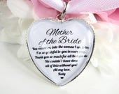 Mother Of The Bride Thank You Gift Personalised Bouquet Charm Heart Shaped Custom Name Quote