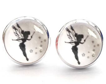 Disney Tinkerbell Peter Pan Stud Earrings. 10mm. Available as cufflinks