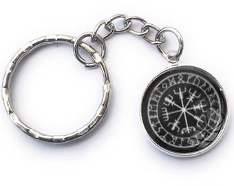 Viking Historical Compass Nautical Handmade Keyring 20mm Diameter Glass Fronted